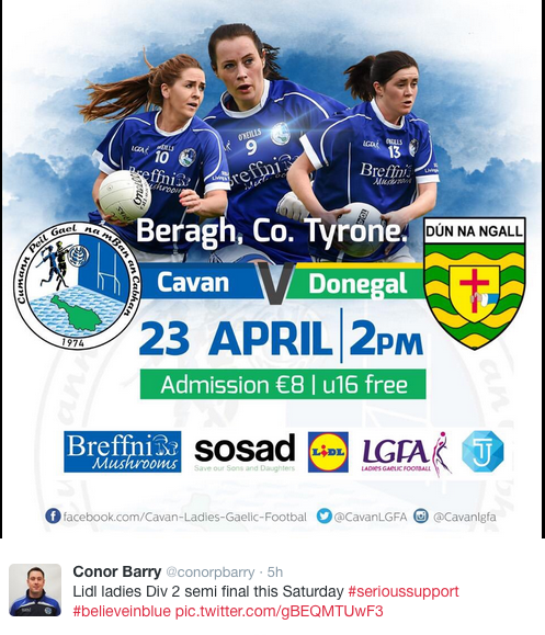 This Saturday we welcome the Caven and Donegal Senior Ladies teams to St.Mary's Park as we host the National League Semi - Final at 2pm.