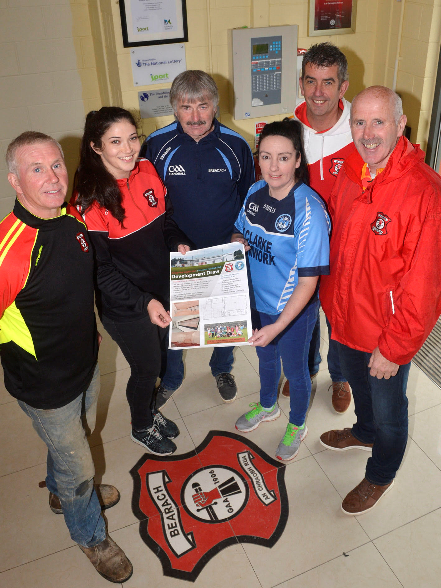 Beragh Red Knights and Breacach Handball Club Development Draw 2017. Club Chairman Seamus Boyle, PRO EIlish Owens, Breacach Handball Club representatives Sean Clarke and Michelle Warren, Committee members Michael McCaughey and Hugh McNamee
