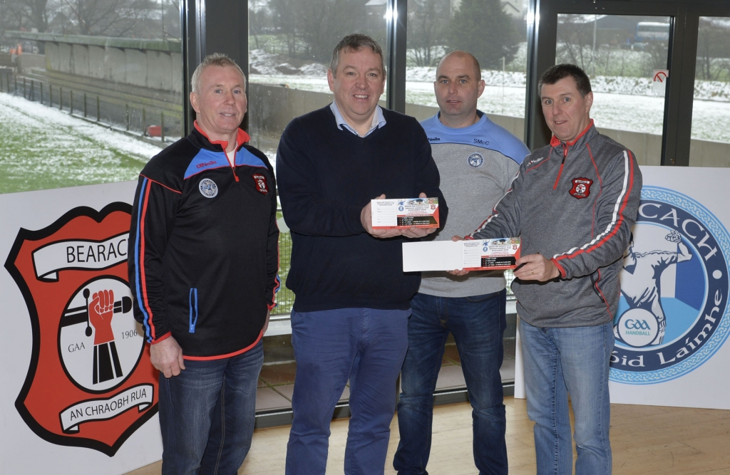 Tyrone GAA Chairman Michael Kerr (second from left), gives his endorsement to Beragh's plan for a major new sports and community services hub. Also pictured (from left), is Seamus Boyle (club chairman), Seamus McCrory (handball development officer) and Ger Treacy (draw co-ordinator). (Photo: Pat McSorley)